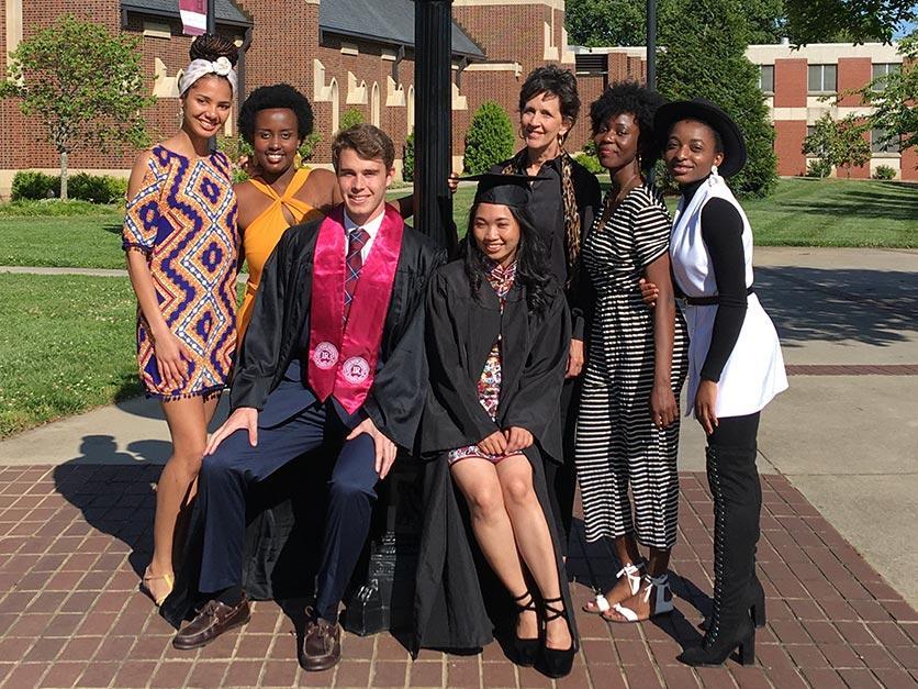 International students graduating during COVID held an impromptu celebration.