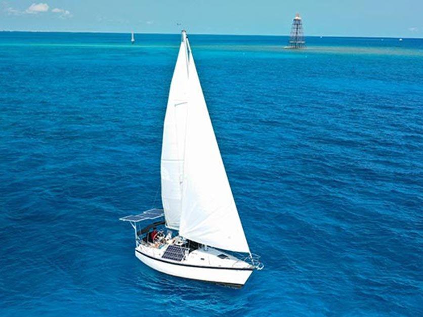 A solar-powered sailboat