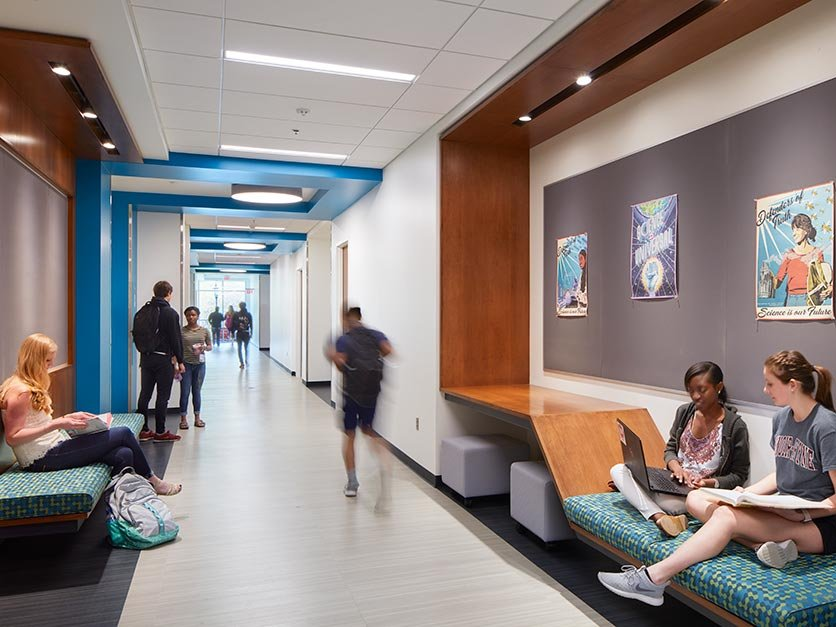Students study and walk to class in the new George Hall science building