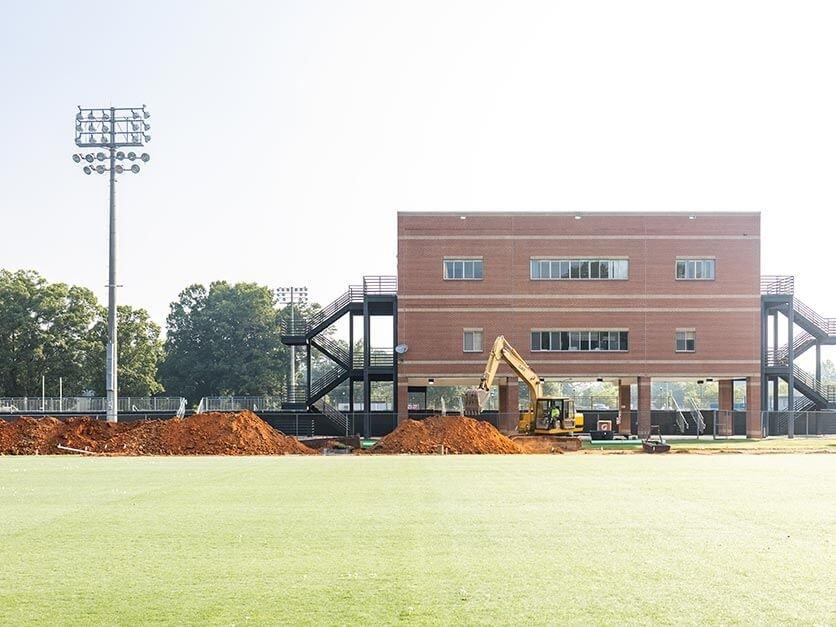 Construction underway on the football practice field