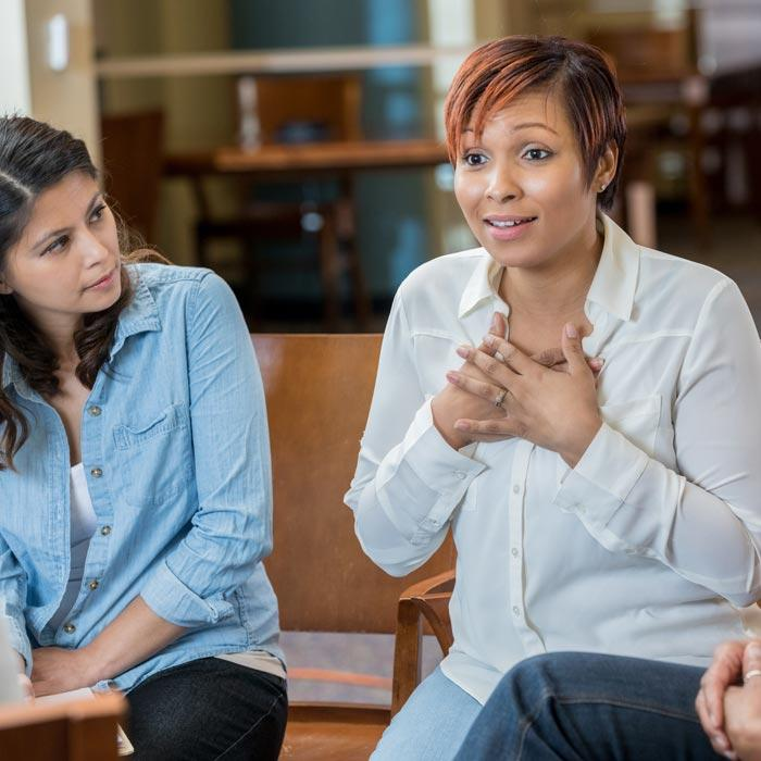 Counseling students talking during class discussion