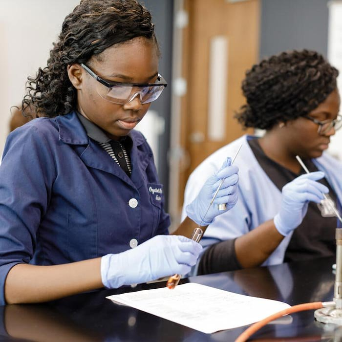 Students working in lab with test tubes